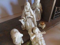 Large vintage porcelain nativity scene rustic by cgraceandcompany