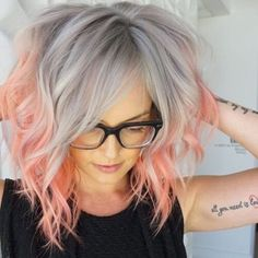Short Ombre Grey Hair with Peach Tips