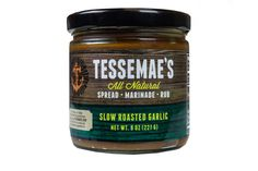 Slow Roasted Garlic Spread | Tessemae's All Natural  Introducing our slow roasted garlic spread. The result of a multi-day process, this spread delivers the sweet warmth of garlic without the overbearing reputation. Its great on pasta, bread, pizza, sandwiches, burgers, soup... really, anything. You know that line about Rome and how long it took to build? Yeah, well, samesies.
