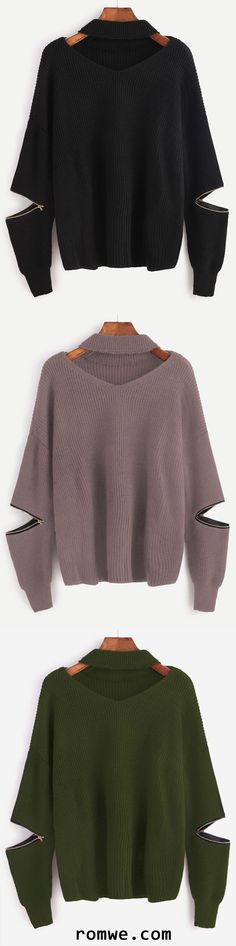 Choker V Neck Sweater With Sleeve Zip Detail