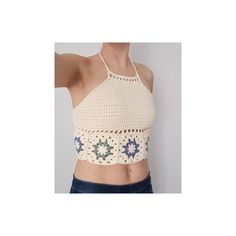 Free Crochet Pattern for Hepatica Granny Halter Top by Hooked by Anna. A quick-to-make halterneck top that starts as a row of granny squares. Free Pattern More Patterns Like This! Crochet Halter Tops, Crochet Bikini, Granny Square Crochet Pattern, Crochet Patterns, Crochet Granny, Free Crochet, Knit Crochet, Crochet Summer, Summer Tops