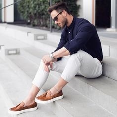Best Outfit Combination For Men. 1. NAVY SHIRT + BEIGE CHINOS