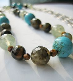 Long Beaded Necklace Sterling Silver Turquoise by SavvySilver, $150.00