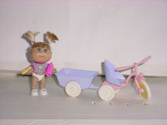 CABBAGE PATCH KID 3 1/2 ''  MINI DOLL W/TRIKE AND WAGON, ALL VINYL W/ROOTED HAIR
