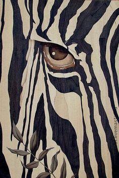 """Животные ручной работы. Ярмарка Мастеров - ручная работа """"Глаз зебры"""" шпон-маркетри. Handmade."""