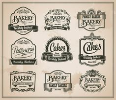 retro bakery labels vector set
