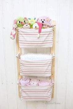 Hanging nursery kids room storage diaper caddy toy storage MEASUREMENTS --------------------------- TOTAL size of the unit (three h&ers & Nursery Storage Baskets Kids Room Storage Nursery Bins by OdorsHome ...