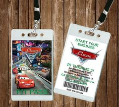 Cars VIP Pit Pass Invitation: