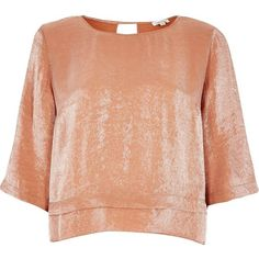 River Island Metallic orange layered hem top ($32) via Polyvore featuring tops, blouses, orange, women, red top, layered tops, river island top, round neck top and orange top