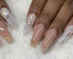 White marble nail designs with Nude and gold flakes and Heart nail designs at NAB Nail Bar Las Vegas Book Today Text or call 702-577-1680 www.nabnailbar.com