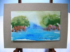 C Peterson ORIGINAL fine ART watercolor PAINTING = landscape ACEO impressionist  #contemporymodernartabstractimpressionist