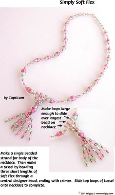 Simply Soft Flex Bead Stringing Wire and Beads Necklace Jewelry Making Project made with WigJig Jewelry Tools and Jewelry Supplies.