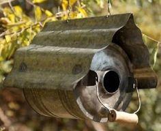 Galvanized Bird Houses   Galvanized-Can-Metal-Repurposed-Primitive-Birdhouse-12-BIRD-HOUSE-Gas ...