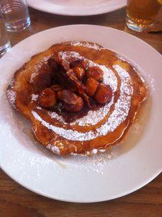 Pancake + bananas + caramel + bacon - London