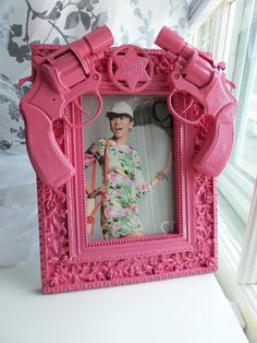 pink guns and roses picture frame by CheeseCrafty on Etsy, $19.00