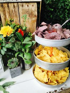 Chips and salsa at a Mexican fiesta birthday party! See more party ideas at CatchMyParty.com!