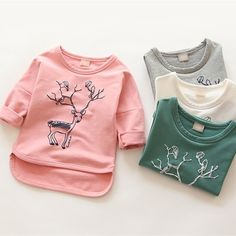 11.61$  Watch here - http://alicoa.shopchina.info/go.php?t=32661735015 - 2016 Spring autumn New Kids Toddler Tees Girls long Sleeve Casual T Shirts girls boys cartoon Deer cotton Blouse Tops  #aliexpressideas