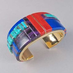 Charles Loloma 14k Gold Bracelet with Sugilite, Turquoise, Lapis Lazuli and Coral