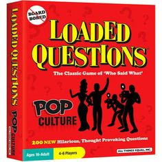 Loaded Questions Pop Culture -- Laugh, chat and critique away with 200 NEW creative questions about movies, music, television, celebrities and all things pop culture. Board Games For Couples, Board Games For Kids, Games For Toddlers, Games For Teens, Kids Board, Party Card Games, Family Party Games, Preschool Board Games, Loaded Question