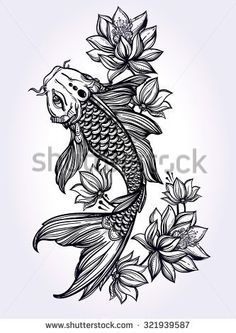 Hand drawn fish (Koi carp) with flowers - symbol of harmony, wisdom. Vector illustration isolated. Spiritual art for tattoo, coloring books. Beautifully detailed, serene.