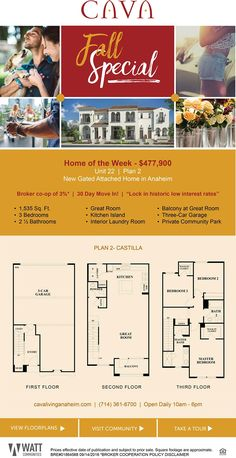 New Homes for Sale in Anaheim, California  New Gated Attached Home in Anaheim | $477,900  3% Brokers Welcome |  Beautiful 3 Story Townhomes!  |  30 Day Move In!  http://www.cavalivinganaheim.com/