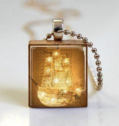 Peter Pan Jewelry Captain Hook Jolly Roger Pirate Ship Neverland Nautical Scrabble Tile Pendant with Ball Chain Necklace (ITEM S357)