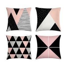 Kit 4 Full Decorative Pillows Pink Geometric Zipper Kit 4 Almofadas Decorativas Cheias Rosa Geométrica Com Zíper Kit 4 Decorative Pillows Filled Pink Geometric With … - Cute Pillows, Diy Pillows, Decorative Pillows, Throw Pillows, Cushion Covers, Pillow Covers, Cushion Embroidery, Sewing Pillows, Quilted Pillow