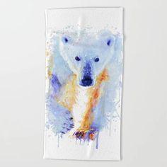Polar Bear Beach Towel by MarianVoicu - Beach Towel Oversized Beach Towels, Cute Gifts, Polar Bear, White Cotton, Rugs On Carpet, Jewelry Art, Original Artwork, Art Gallery, Just For You