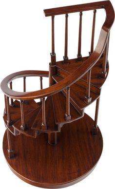 Decorative Arts, American, A MAHOGANY ARCHITECTURAL SPIRAL STAIRCASE MODEL, 20th…