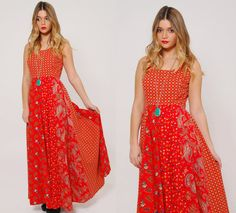 Vintage 70s PATCHWORK Maxi Dress Red PAISLEY & FLORAL Mixed Print Hippie Dress by LotusvintageNY