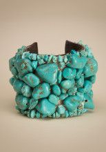 Chunky leather cuff with stitched turquoise beads, so pretty!