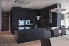 monochrome black modern kitchen with island Modern Kitchen Island, Luxury Villa, Monochrome, Photo And Video, Studio, Black, Instagram, Design, Luxury Condo