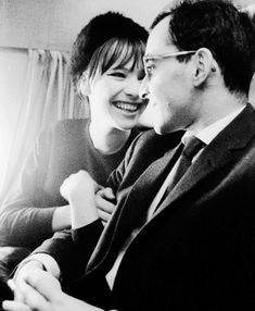 "nicolebonnet: "" Anna Karina and Jean Luc Godard "" Anna Karina, Francois Truffaut, French New Wave, French Movies, Jean Luc Godard, Boy Meets Girl, Cartoon Tv Shows, Love Scenes, Movie Couples"