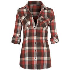 Women's Classic Button Down Roll Up Long Sleeve Plaid Flannel Shirt ($23) ❤ liked on Polyvore featuring tops, plaid flannel shirt, flannel shirts, long sleeve plaid shirt, long sleeve shirts and brown shirts