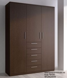 Minimalist wardrobe with full length hanging space, medium length, drawers and shelfs with additional mirror in middle door Wardrobe Design Bedroom, Bedroom Cupboard Designs, Bedroom Cupboards, Closet Bedroom, Wooden Wardrobe, Wardrobe Furniture, Bed Furniture, Furniture Design, Wardrobe Storage