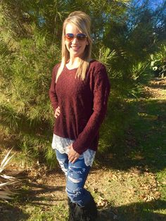 Chase For The Lace Sweater – Pistols & Pearls Boutique