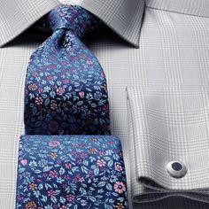 Luxury navy multi floral tie