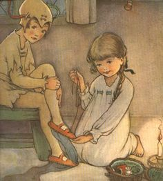 """Mabel Lucie Attwell ~ Detail: """"I daresay it will hurt a little."""" ~ Peter Pan and Wendy by J. M. Barrie ~ Charles Scribner's Sons ~ 1921 ~ via Children's/Fantasy Illustrations"""