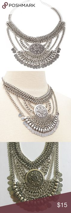 Forever 21 • Silver boho coin bib necklace Forever 21 silver boho style coin bib statement necklace. Worn twice. Forever 21 Jewelry Necklaces