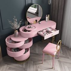 Room Design Bedroom, Bedroom Furniture Design, Girl Bedroom Designs, Room Ideas Bedroom, Home Room Design, Cute Furniture, Makeup Furniture, Mirrored Bedroom Furniture, Pink Furniture