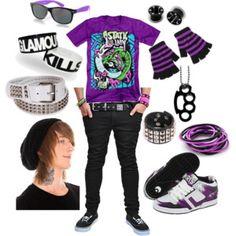 purple emo boy set on polyvore
