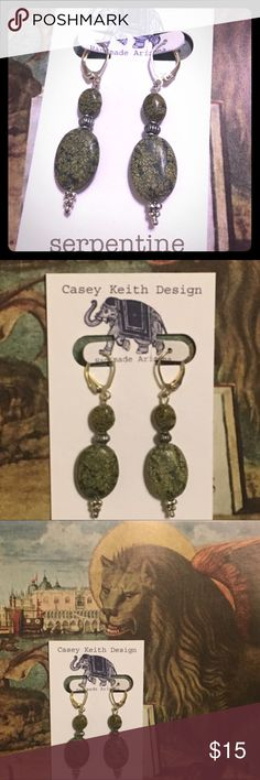 Belted Serpentine Earrings Serpentine dangles from silver plated earwires segmented by a silver plated belt. Artists signature gift packaging included with purchase . Casey Keith Design Jewelry Earrings