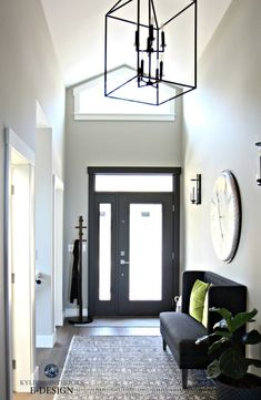 Paint Colour Review: Sherwin Williams Urbane Bronze SW 7048 - Kylie M Interiors Sherwin Williams Collonade Gray, Urbane Bronze Sherwin Williams, Light Grey Paint Colors, Best Paint Colors, Entry Paint Colors, Foyer Paint, Paint Colours, Vaulted Ceiling Lighting, Entry Lighting