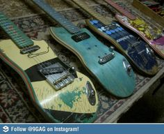 """Ezequiel Galasso is the talented artist behind this skateboard musical """"Skate guitar"""". he guitars are made from old skateboard. Who wants a guitar made with skateboards? Skate Decks, Skateboard Decks, Skateboard Furniture, Skateboard Clothing, Skate Clothing, Skateboard Design, Guitar Art, Cool Guitar, Guitar Body"""