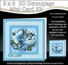 8 x 8 Flowers Butterflies Lace 3d Decoupage Mini Kit on Craftsuprint designed by Carol Clarke - **NEW DESIGN**8 x 8 Card FrontLots of 3D decoupage layersSeparate Greetings SentimentsBlank Greetings PanelMatching Folded Gift TagA Pretty Design with Butterflies and Flowers on a lace doily. A 2 sheet mini kit with ready to use card front, 3D decoupage to add depth to your card, greetings sentiments, blank sentiment panel for your own greeting, plus a matching folded gift tag too!Full Pictorial…