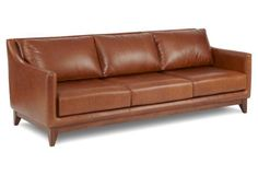 "Gable 91"" Leather Sofa, Umber"