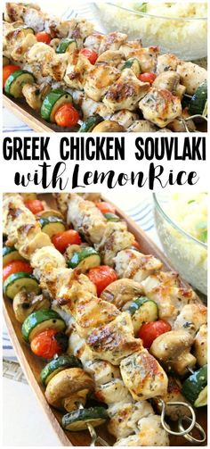 Simple recipe for Greek Chicken Souvlaki grilled to perfection and served with Greek lemon rice. Perfect weeknight dinner for anyone who loves the fresh, bright flavors of Greek food. #greekfoodrecipes