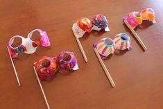 egg carton glasses or masks at Teaching Everyday