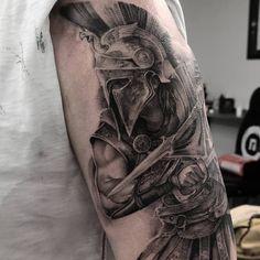 Realistic Black and Grey Greek Warrior Tattoo - made by John Hudic in London at NR London Tattoo Studio Warrior Tattoo Sleeve, Angel Warrior Tattoo, Shoulder Armor Tattoo, Lion Tattoo Sleeves, Warrior Tattoos, Arm Sleeve Tattoos, Forarm Tattoos, Hand Tattoos, Greek God Tattoo