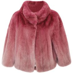 Elie Saab Begonia Ombre Mink Cape Jacket ($19,350) ❤ liked on Polyvore featuring outerwear, jackets, mink fur jacket, red jacket, cape jacket, mink cape and cape coat